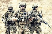 Group Portrait Of Us Army Elite Members, Private Military Company Servicemen, Anti Terrorist Squad F poster
