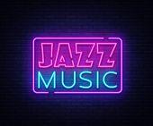 Jazz Music Neon Sign Vector. Jazz Music Design Template Neon Sign, Light Banner, Neon Signboard, Nig poster