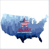 Patriotic Independence Day Background With Biggest Usa Cities Silhouettes And Map poster