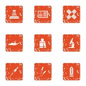Difficult Material Icons Set. Grunge Set Of 9 Difficult Material Vector Icons For Web Isolated On Wh poster
