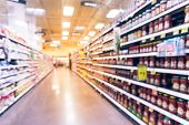 Blurred Sauces, Buns, Rolls, Snack, Cakes At Grocery Store In Usa poster