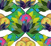 stock photo of gobelin  - Exotic seamless background with the stylised fruit and leaves - JPG