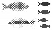 Fish Pair Halftone Mosaic. Vector Fish Icons Are Grouped Into Fish Pair Mosaic. Ocean Design Concept poster