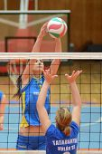 KAPOSVAR, HUNGARY - OCTOBER 2: Zsofia Harmath (L) in action at a Hungarian NB I. League volleyball g