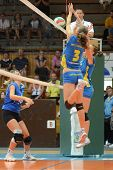 KAPOSVAR, HUNGARY - OCTOBER 2: Zsofia Harmath (3) in action at a Hungarian NB I. League volleyball g