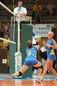 KAPOSVAR, HUNGARY - OCTOBER 2: Kamilla Gyorbiro (6) in action at a Hungarian NB I. League volleyball
