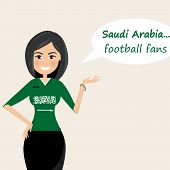 Saudi Arabia Football Fans.cheerful Soccer Fans, Sports Images.young Woman,pretty Girl Sign.happy Fa poster