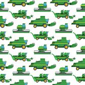 Agriculture Harvest Machine Vector Industrial Farm Equipment Tractors Transport Combine And Machiner poster