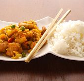 stock photo of chinese food  - Thai peanut chicken curry with rice - JPG
