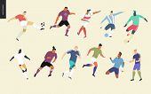 European Football, Soccer Players Set - Flat Vector Illustration Of A Young Men Wearing European Foo poster