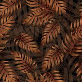 Palm Monstera Seamless Pattern. Orange Black Tropical Summer Background. Beach Jungle Leaves For Swi poster