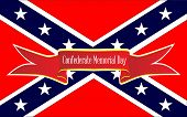 The Flag Of The Confederates During The American Civil War With The Text On A Red Ribbon Confederate poster