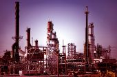 picture of gas-pipes  - Petro chemical gas and oil refinery at dusk - JPG