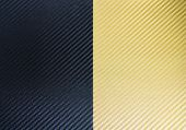 Metallic Shiny Texture Of Gold And Black Carbon Fiber Self-adhesive Paper. Material For Racing Car M poster
