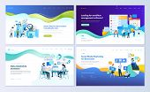 Set Of Web Page Design Templates For Data Analysis, Management App, Consulting, Social Media Marketi poster
