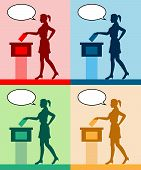 Young Woman Voter Silhouettes With Different Colored Speech Bubble By Voting For Election. All The S poster
