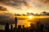 Aerial View Of  Hong Kong City Skyline At Sunrise poster