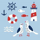 Set Of Nautical Design Elements: Anchor,  Wheel, Fish, Lifebuoy, Lighthouse, Seagulls, Wave. Cartoon poster