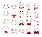 Cartoon Faces. Happy Excited Smile Laughing Unhappy Sad Cry Mouth And Crazy Sick Scared Face Express poster