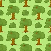 Green Trees Seamless Pattern Background Vector Nature Plant Forest Branch Illustration. Summer Natur poster