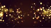 Abstract Defocused Circular Golden Bokeh Sparkle Glitter Lights Background. Magic Christmas Backgrou poster