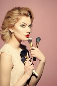 Retro Make-up. Beauty Fashion Model Girl. Fashion Look. Makeup And Cosmetics, Skincare, Visage. Retr poster