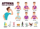 Asthma And Allergy Symptoms And Causes With Cartoon Person Uses Inhaler. Asthmatic Problems Vector I poster