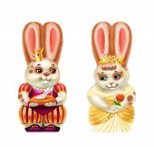 Rabbit Prince And Cinderella, White In Red Spots, Isolated On White poster