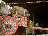foto of ox wagon  - Colorful Costa Rican Ox Cart loaded with coffee bags - JPG