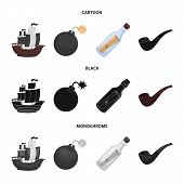 Pirate, Bandit, Ship, Sail .pirates Set Collection Icons In Cartoon, Black, Monochrome Style Vector  poster