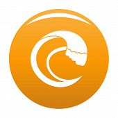 Wave Aqua Icon. Simple Illustration Of Wave Aqua Vector Icon For Any Design Orange poster