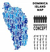 Постер, плакат: Vector Population Dominica Island Map Demography Collage Of Dominica Island Map Constructed Of Peop