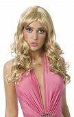 stock photo of bimbo  - Pretty woman pretending to be a Barbie doll - JPG