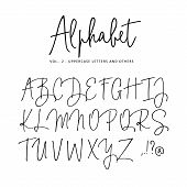 Hand Drawn Vector Alphabet. Modern Monoline Signature Script Font. Isolated Upper Case Letters, Init poster