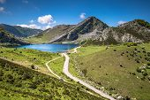 Lake Enol And Mountain Retreat, The Famous Lakes Of Covadonga, Asturias , Spain poster