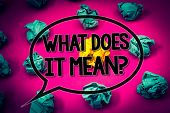 Handwriting Text What Does It Mean Question. Concept Meaning Confusion Curiosity Questioning Inquire poster