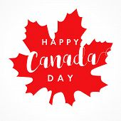 Happy Canada Day Lettering On Maple Leaf Greetings Card. Canada Day, National Holiday 1st Of July Wi poster