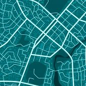 Print With Blue Town Topography. Abstract Blue City Map. City Residential District Scheme. City Dist poster
