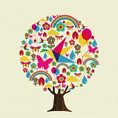 Tree Made Of Vibrant Color Spring Season Icons, Springtime Concept. Seasonal Illustration With Flowe poster