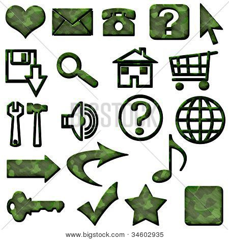 Dark Green Camouflage Masculine Website Icons Buttons Navigation