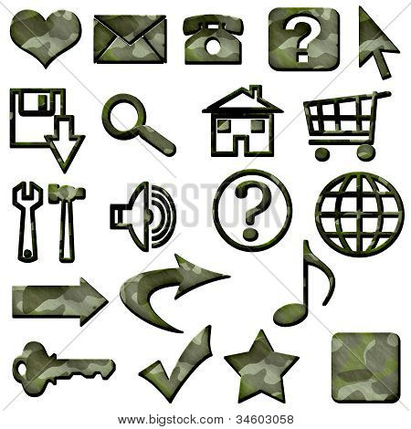 Green Camouflage Masculine Website Icons Buttons Navigation
