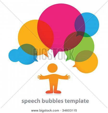 Person with bubbles for dialogue. Vector.