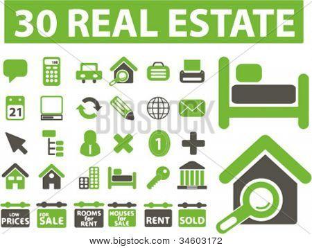 Inmobiliaria los iconos set, vector
