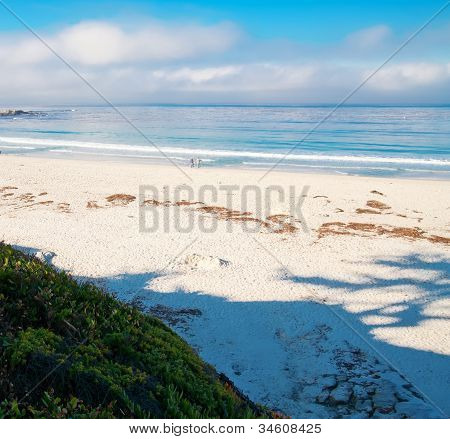 Blue Ocean Landscape With White Sand And