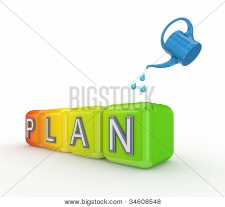 Blue bailer and colorful cubes with a word PLAN.
