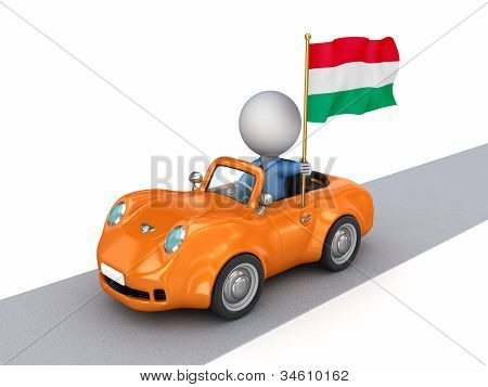 3d small person on orange car with Hungarian flag.