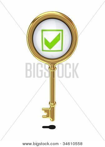 Golden key with a green tick mark.