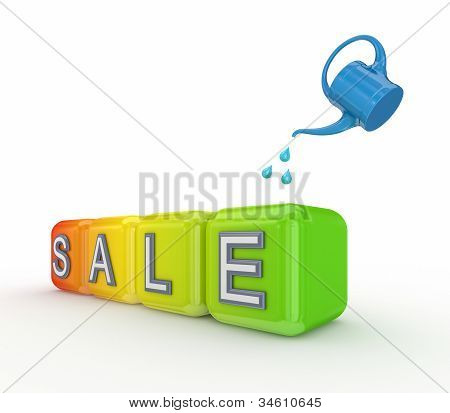 Blue bailer and colorful cubes with a word SALE.