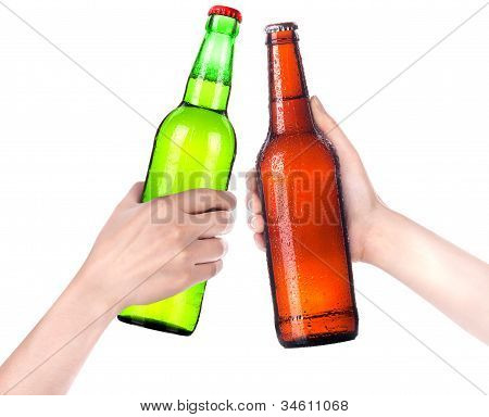 Hands Clinking Glasses Beer Isolated