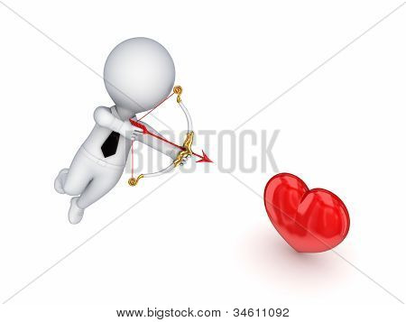 3d small person shooting at a red heart.